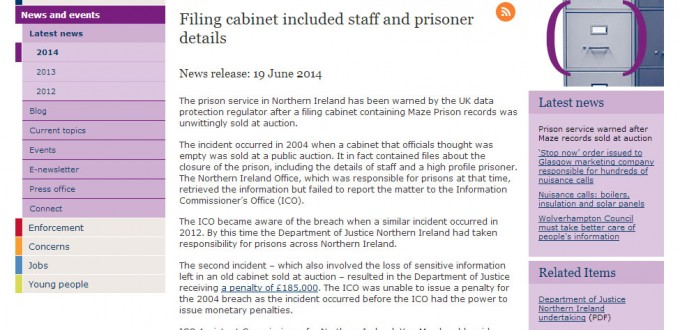 Prison Service warned over data breach